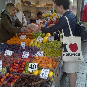 Chloe Smith MP Buy Local Challenge Norwich Market