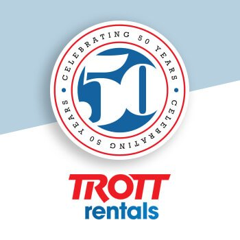 Trott Rentals - 50 years logo