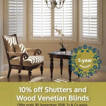 10% of shutters and wood venetians at Norwich Sunblinds